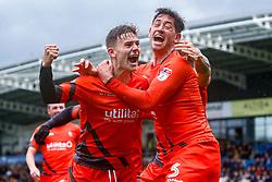 Dominic Gape of Wycombe Wanderers and Joe Jacobson of Wycombe Wanderers celebrate Wycombe Wanderers second goal - Mandatory by-line: Ryan Crockett/JMP - 28/04/2018 - FOOTBALL - Proact Stadium - Chesterfield, England - Chesterfield v Wycombe Wanderers - Sky Bet League Two