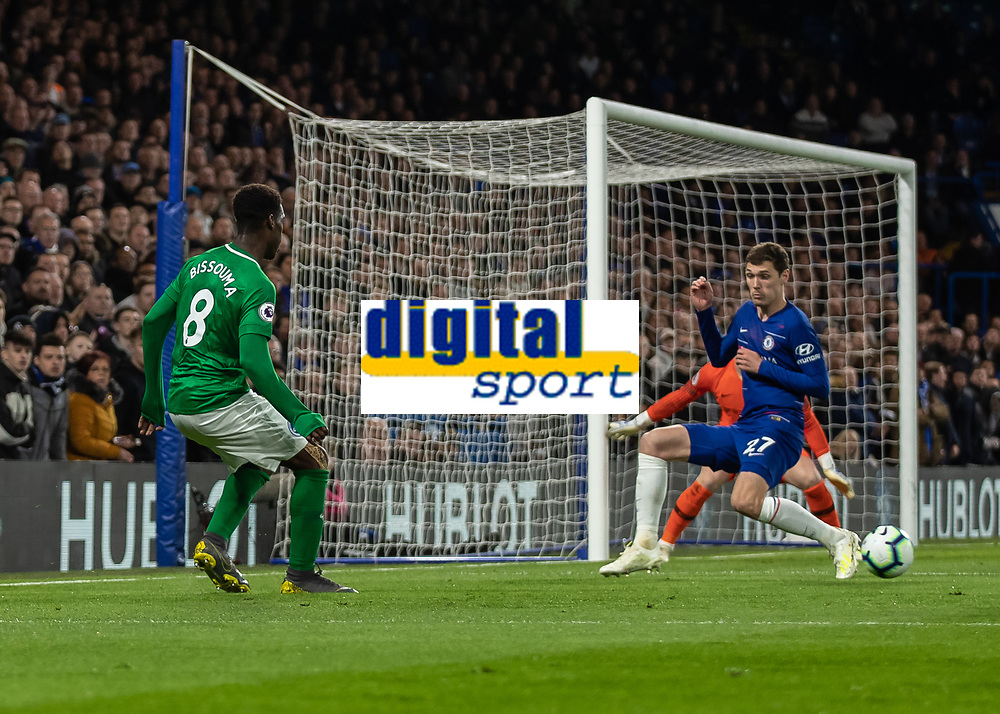 Football - 2018 / 2019 Premier League - Chelsea vs. Brighton & Hove Albion<br /> <br /> Yves Bissouma Brighton & Hove Albion) slide the ball back across the face of the Che;sea goal at Stamford Bridge <br /> <br /> COLORSPORT/DANIEL BEARHAM
