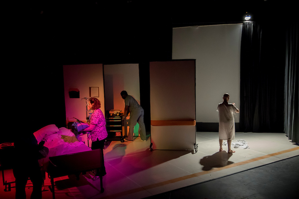 Members of The Collective Face rehears for the upcoming performance of the play W;T, Thursday, March 5, 2015, in Savannah, Ga. (CF Photo/Stephen B. Morton)