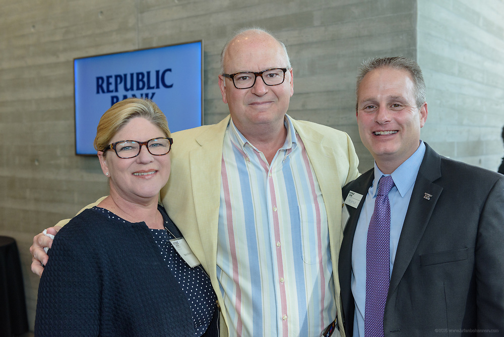 Nancy and Alex Rhodes and Greg Bromley at the 10-year anniversary celebration of Republic Bank's Private Banking and Business Banking divisions Wednesday, May 17, 2017, at the Speed Art Museum in Louisville, Ky. (Photo by Brian Bohannon)
