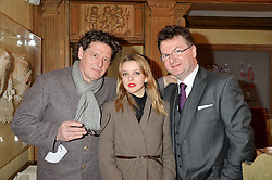 Left to right, MARCO PIERRE WHITE, GRETA BELLAMACINA and EWEN VENTERS at a lunch hosted by Fortnum & Mason, Piccadilly, London on 29th January 2015 in honour of Marco Pierre White and the publication of White Heat 25.