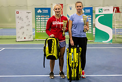 Second placed Tjasa Klevisar and winner Tina Cvetkovic at trophy ceremony after final match during Slovenian National Tennis Championship 2019, on December 21, 2019 in Medvode, Slovenia. Photo by Vid Ponikvar/ Sportida