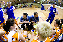 Assistant coach Emir Haskic and Coach of Kr. Gora Goran Jovanovic (R) at 4th final match of Slovenian women basketball 1st league between Hit Kranjska Gora and ZKK Merkur Celje, on May 13, 2010, in Arena Vitranc, Kranjska Gora, Slovenia. Celje defeated Kr. Gora 71-60 and the result after 4th match is 2-2. (Photo by Vid Ponikvar / Sportida)