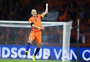 AMSTERDAM, NEDERL&Auml;NDERNA - 2017-10-10: Arjen Robben jublar efter att ha gjort 1-0 under FIFA 2018 World Cup Qualifier mellan Nederl&auml;nderna och Sverige p&aring; Amsterdam ArenA den 10 oktober, 2017 i Amsterdam, Nederl&auml;nderna. <br /> Foto: Nils Petter Nilsson/Ombrello<br /> ***BETALBILD***
