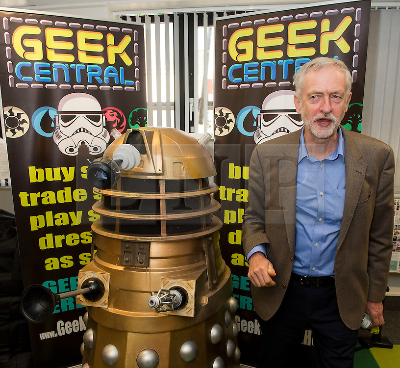 "© Licensed to London News Pictures. 26/09/2015. Brighton, UK. Leader of the Labour Party JEREMY CORBYN poses next to a darlek underneath the words ""GEEK CENTRAL"" during a visit to Entrepreneurial Spark in Brighton, a group that promotes entrepreneuring. The visit takes place on the eve of the Labour Party conference, which is being held in Brighton Photo credit: Ben Cawthra/LNP © Licensed to London News Pictures. 26/09/2015. Brighton, UK. Leader of the Labour Party JEREMY CORBYN poses next to a dalek underneath the words ""GEEK CENTRAL"" during a visit to Entrepreneurial Spark in Brighton, a group that promotes entrepreneuring. The visit takes place on the eve of the Labour Party conference, which is being held in Brighton Photo credit: Ben Cawthra/LNP"