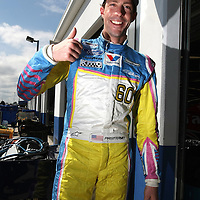 Rousch-Fenway Racing Ford driver Travis Pastrana is seen in the garage area, during a NASCAR Drive4COPD Nationwide Series practice session at Daytona International Speedway on Thursday, February 21, 2013 in Daytona Beach, Florida.  (AP Photo/Alex Menendez)