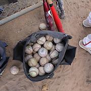A bag of baseballs during the High School Baseball ball game between Trumbull Golden Eagles and McMahon Senators at Brien McMahon High School. Norwalk, Connecticut. USA. 26th April 2012. Photo Tim Clayton