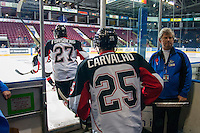 KELOWNA, CANADA - NOVEMBER 3:  Alex Forsberg #27 and Joseph Carvalho #25 of the Prince George Cougars enter the ice for warm up at the Kelowna Rockets on November 3, 2012 at Prospera Place in Kelowna, British Columbia, Canada (Photo by Marissa Baecker/Shoot the Breeze) *** Local Caption ***