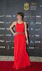 LIVERPOOL, ENGLAND - Tuesday, May 6, 2014: LFCTV presenter Claire Rourke arrives on the red carpet for the Liverpool FC Players' Awards Dinner 2014 at the Liverpool Arena. (Pic by David Rawcliffe/Propaganda)