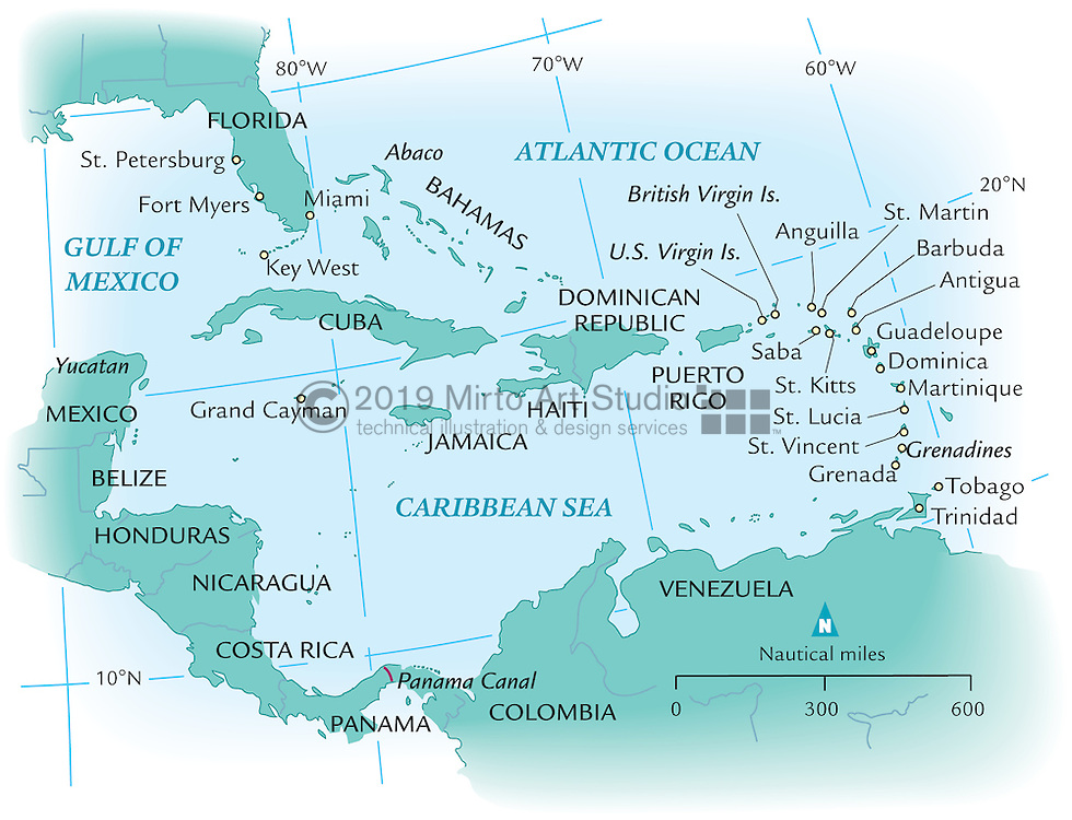 Vector map of the Caribbean Sea and Islands