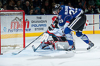 KELOWNA, CANADA -FEBRUARY 8: Axel Blomqvist #23 of the Victoria Royals scores a goal against the Kelowna Rockets on February 8, 2014 at Prospera Place in Kelowna, British Columbia, Canada.   (Photo by Marissa Baecker/Getty Images)  *** Local Caption *** Axel Blomqvist;