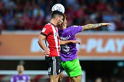 Josh Brownhill of Bristol City challenges for a header - Mandatory by-line: Dougie Allward/JMP - 15/08/2017 - FOOTBALL - Griffin Park - Brentford, England - Brentford v Bristol City - Sky Bet Championship