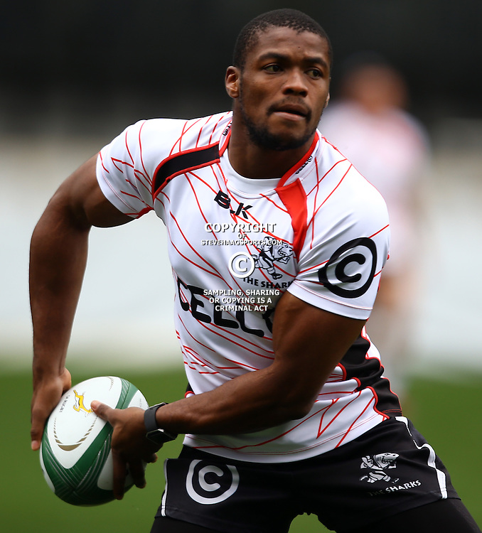 DURBAN, SOUTH AFRICA, 9 September, 2016 - S'bura Sithole during The Cell C Sharks Captains Run at Growthpoint Kings Park in Durban, South Africa. (Photo by Steve Haag)<br /> <br /> images for social media must have consent from Steve Haag