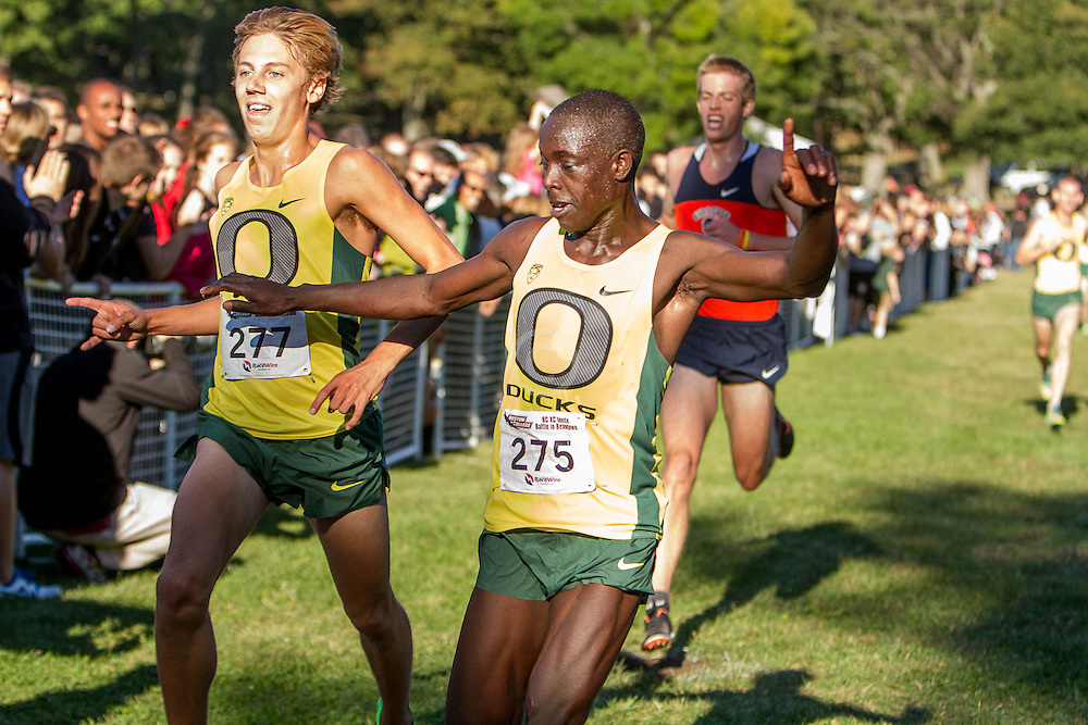 Boston College Invitational Cross Country race at Franklin Park; Oregon runners Ed Cheserek nips Jake Leingang at the finish to win
