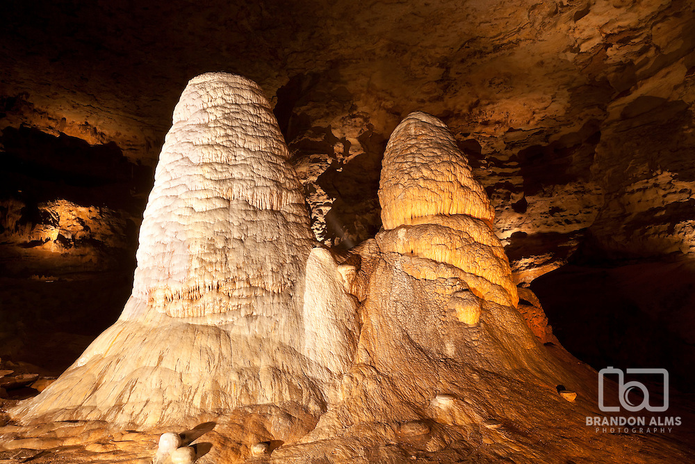 "Giant Stalagmites called ""The Twins"" inside Onondaga Cave in Leasburg, Missouri."