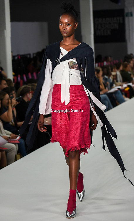 Designer Bryony Rodda showcases it lastest collection at the Graduate Fashion Week 2018, 4 June 4 2018 at Truman Brewery, London, UK.
