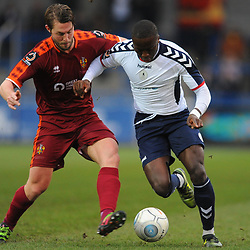 TELFORD COPYRIGHT MIKE SHERIDAN 5/1/2019 - Dan Udoh of AFC Telford battles for the ball with Robert Atkinson during the Vanarama Conference North fixture between AFC Telford United and Spennymoor Town.