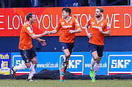 Jonathan Smith of Luton Town (centre) celebrates scoring his team's third goal against Cambridge United to make it 3-0 during the Sky Bet League 2 match at Kenilworth Road, Luton<br /> Picture by David Horn/Focus Images Ltd +44 7545 970036<br /> 31/01/2015