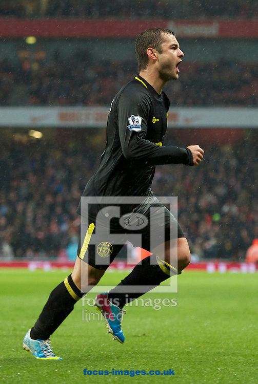 Picture by Alan Stanford/Focus Images Ltd +44 7915 056117.14/05/2013.Shaun Maloney of Wigan Athletic celebrates his equaliser during the Barclays Premier League match at the Emirates Stadium, London..