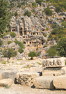 Ancient Lycian ruins at Myra<br /> elaborately carved tombs set into the cliffs<br /> and stone carvings    Turkey<br /> c. Ellen Rooney