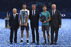 November 19, 2017 - London, England, United Kingdom - President of Nitto, Hideo Takasaki, Winner Grigor Dimitrov of Bulgaria, ATP president Chris Kermode, runner up, David Goffin of Belgium and Boris Becker pose for photos following the singles final during day eight of the 2017 Nitto ATP World Tour Finals at O2 Arena on November 19, 2017 in London, England. (Credit Image: © Alberto Pezzali/NurPhoto via ZUMA Press)
