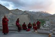 Monks and pilgrims mix to celebrate the Lamayuru Festival 5-6 June, 2013, Lamayuru Monastery. Lamayuru Gompa (monastery) is built above the ruins of the old one, along the Srinagar-Leh highway.