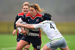 Amber Reed of Bristol Ladies is tackled by Sonia Green of Saracens Women - Mandatory by-line: Paul Knight/JMP - 30/03/2018 - RUGBY - Shaftsbury Park - Bristol, England - Bristol Ladies v Saracens Women - Tyrrells Premier 15s
