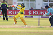 Rachael Haynes cuts a ball from Laura Marsh during the Royal London Women's One Day International match between England Women Cricket and Australia at the Fischer County Ground, Grace Road, Leicester, United Kingdom on 4 July 2019.