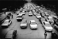 UN vehicle is most vulnerable to terrorist attack while stuck in a traffic jam in central Kabul as pedestrians and bicycles freely thread their way between stopped cars, Afghanistan.
