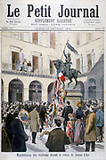 Catholoic students of the National Union  laying wreaths  at foot statue of Saint Joan (Joan of Arc  - c1412-1431) The Maid of Orleans, French national heroine of The Hundred Year's War. From 'Le Petit Journal',  Paris, February, 1894.