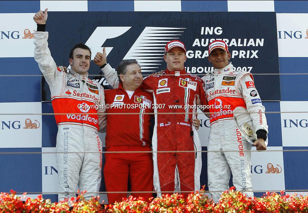 L-R; Fernando Alonso, Jean Todt, Kimi Raikkonen and Lewis Hamilton celebrate on the podium after the Australian Formula 1 Grand Prix at Melbourne, Australia on Sunday 18 March 2007. Photo: Panoramic/PHOTOSPORT   #NO AGENTS#<br /> <br /> <br /> 180307 *** Local Caption ***
