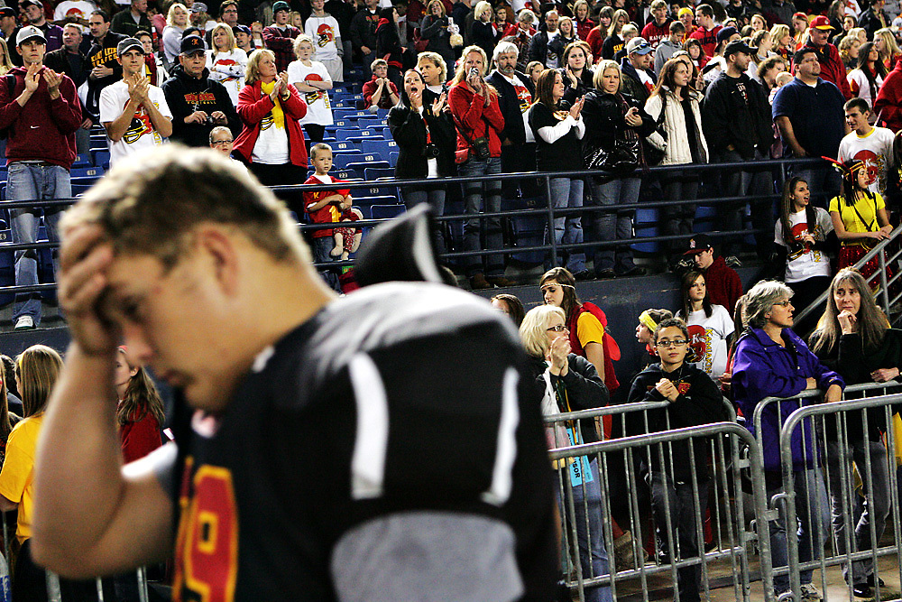 Kamiakin fans, who showed up in large numbers Friday to support the Braves at the Tacoma Dome for their 3A State Championship game, continue showing support as the team left the field following a 38-0 loss to Bellevue.