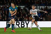 Martyn Waghorn shoots t goal during the EFL Sky Bet Championship match between Derby County and Hull City at the Pride Park, Derby, England on 18 January 2020.