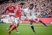 Antonio Barragan (Middlesbrough) pulls Isaac Success (Watford) shirt as the Watford player crosses the ball during the Premier League match between Middlesbrough and Watford at the Riverside Stadium, Middlesbrough, England on 16 October 2016. Photo by Mark P Doherty.