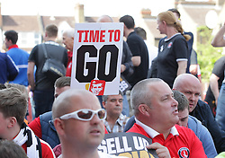 Charlton Athletic Fans protest outside the ground before the match  - Mandatory by-line: Paul Terry/JMP - 07/05/2016 - FOOTBALL - The Valley - London, England - Charlton Athletic v Burnley - Sky Bet Championship