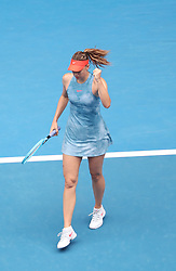 MELBOURNE, Jan. 18, 2019  SP)AUSTRALIA-MELBOURNE-TENNIS-2019 AUSTRALIAN OPEN-DAY 5.    Maria Sharapova of Russia celebrates.    during the women's third round match between Maria Sharapova of Russia and Caroline Wozniacki of Denmark at the 2019 Australian Open in Melbourne, Australia, Jan. 18, 2019. (Credit Image: © Bai Xuefei/Xinhua via ZUMA Wire)