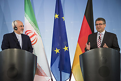 June 27, 2017 - Berlin, Germany - German Vice Chancellor and Foreign Minister Sigmar Gabriel (R) and Iranian Foreign Minister Mohammad Javad Zarif (L) hold a news conference at the Foreign Ministry in Berlin on June 27, 2017. (Credit Image: © Emmanuele Contini/NurPhoto via ZUMA Press)