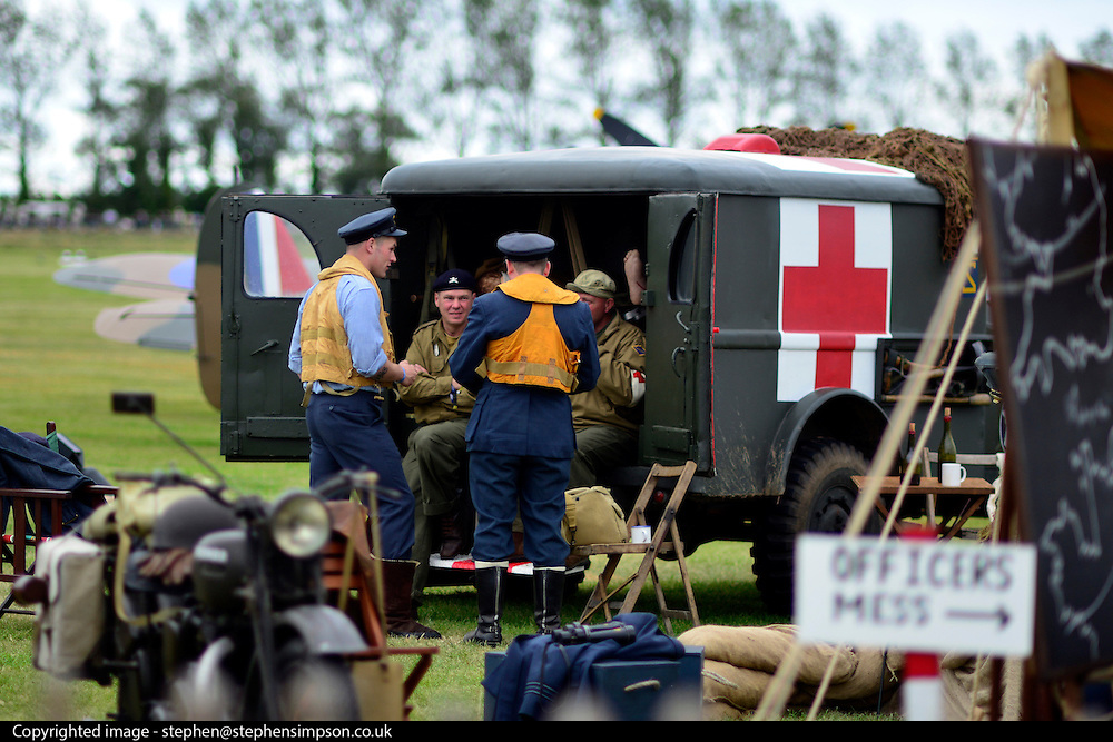 © Licensed to London News Pictures. 16/09/2012. Goodwood, UK . A vintage field hospital on the airfield. People enjoy the atmosphere at the 2012 Goodwood Revival. The event recreates the glorious days of motor racing and participants are encouraged to dress in period dress. Photo credit : Stephen Simpson/LNP