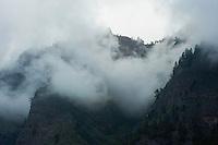 Fog and low clouds inside the calderade de Taburiente. Caldera de Taburiente National Park, La Palma Island, Canary Islands, Spain.