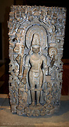 Vishnu, supreme god in the Vaishnavite Hindu tradition. Next to him are his  various incarnations. From Kanuaj, India circa 1000 AD. Mythology