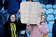 Burton Albion fans with a sign after the EFL Sky Bet League 1 match between Peterborough United and Burton Albion at London Road, Peterborough, England on 4 May 2019.