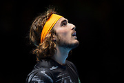Stefanos Tsitsipas of Greece looks up at the big screen during the Nitto ATP Finals at the O2 Arena, London, United Kingdom on 13 November 2019.