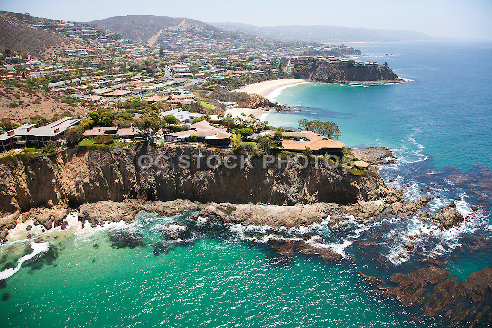 Aerial Stock Photo of Cameo Cove, Abalone Point and Emerald Point of Laguna Beach California