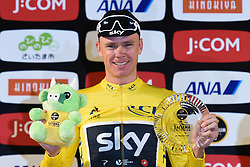 November 4, 2017 - Saitama, Japan - Chris Froome (Team SKY) celebrates his win in the Best Mountain rider classification during the 58.9km Main Race, at the 5th edition of TDF Saitama Criterium 2017 ..On Saturday, 4 November 2017, in Saitama, Japan. (Credit Image: © Artur Widak/NurPhoto via ZUMA Press)