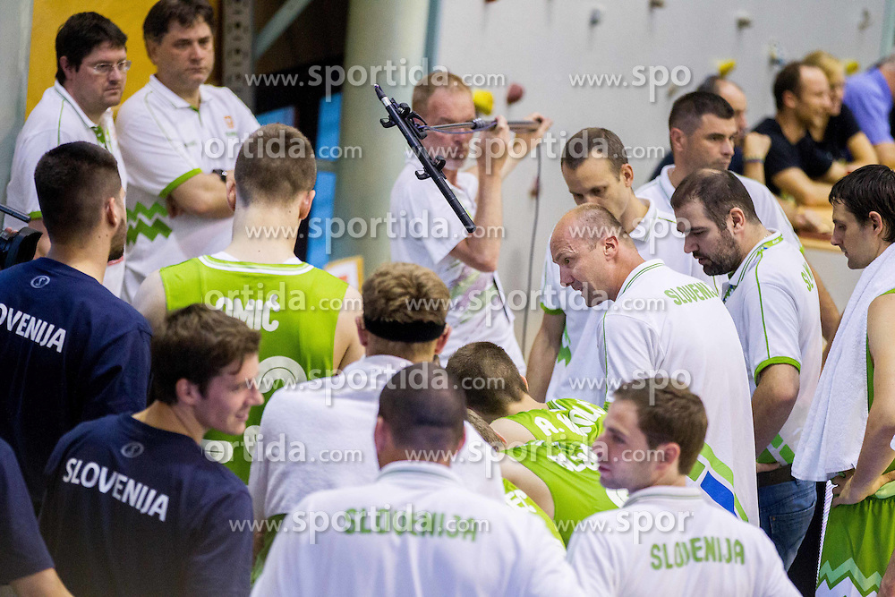 Jure Zdovc, head coach of Slovenia talking to players during friendly basketball match between National teams of Slovenia and Georgia in day 2 of Adecco Cup 2014, on July 25, 2014 in Dvorana OS 1, Murska Sobota, Slovenia. Photo by Vid Ponikvar / Sportida.com