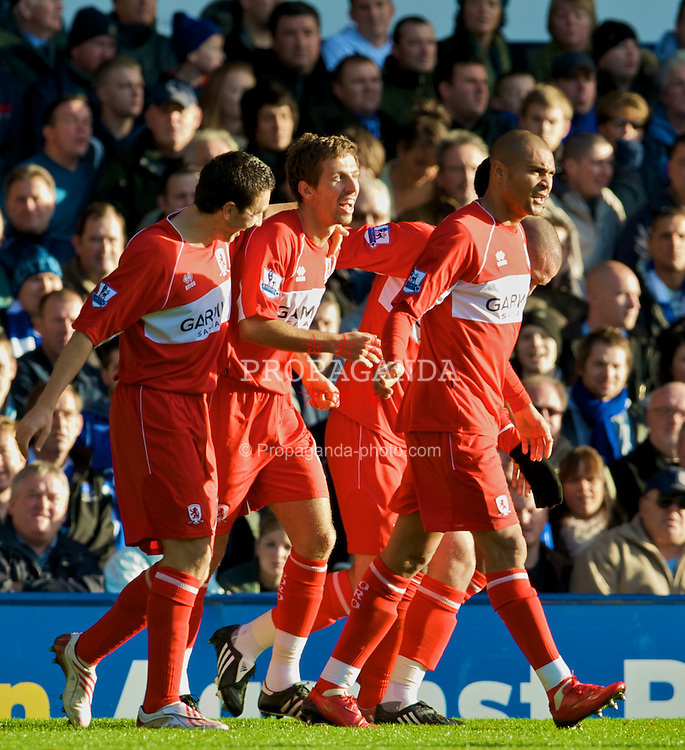 LIVERPOOL, ENGLAND - Sunday, November 16, 2008: Middlesbrough's Gary O'Neil celebrates scoring the opening goal against Everton during the Premiership match at Goodison Park. (Photo by David Rawcliffe/Propaganda)