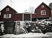Röda stugor på Sågargatan på Södermalm