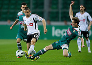 (L) Legia's Tomasz Brzyski fights for the ball with (R) Tadeusz Socha of Slask Wroclaw during soccer Polish Cup Final between Legia Warsaw and Slask Wroclaw at Pepsi Arena in Warsaw, Poland...Poland, Warsaw, May 08, 2013..Picture also available in RAW (NEF) or TIFF format on special request...For editorial use only. Any commercial or promotional use requires permission...Photo by © Adam Nurkiewicz / Mediasport