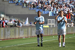 April 22, 2018 - Rome, Lazio, Italy - Luis Nani and Lucas Lleiva thanking Lazio supporters at the end of the game versus Sampdoria.With two goal per time SS Lazio beat Sampdoria 4-0 (32'  Sergej Milinkovic, 43'  Stefan De Vrij, 85' Ciro Immobile, 88 Ciro Immobile) and make a step ahead for the fight for third place in Italian Serie A (Credit Image: © Paolo Pizzi/Pacific Press via ZUMA Wire)