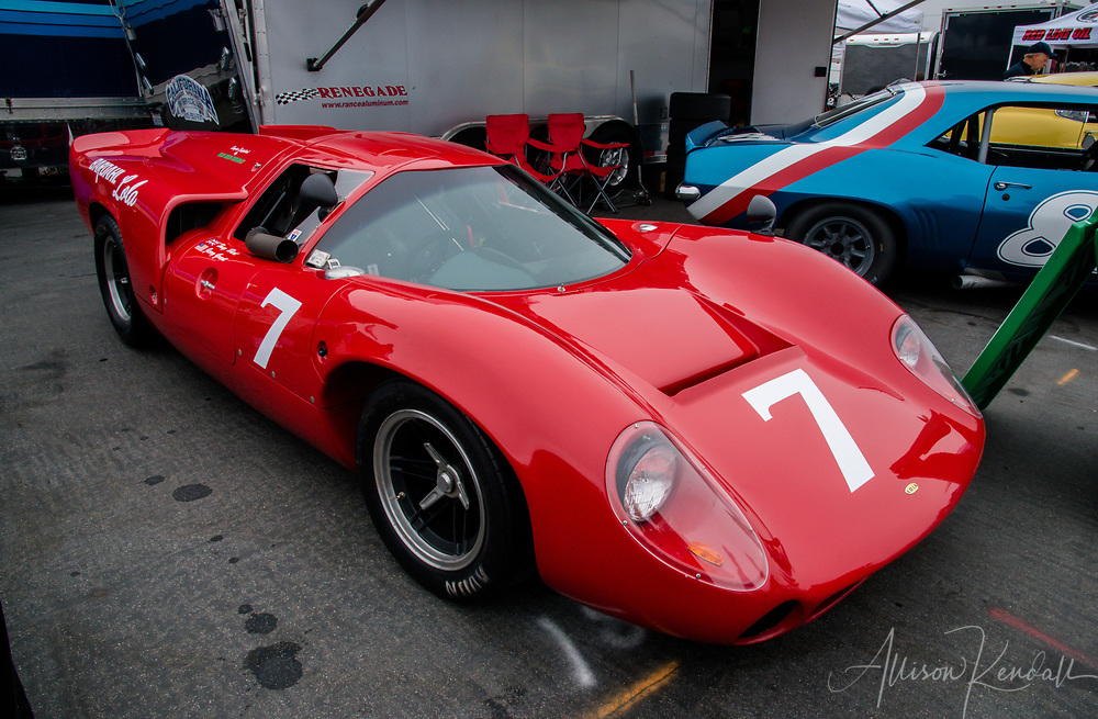 Vintage and classic cars ready to race at Laguna Seca racetrack in Monterey, California during the annual Reunion events of car week.